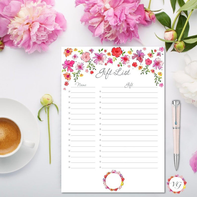 GIFT List Silver  Flower Todo List  INSTANT DOWNLOAD image 0