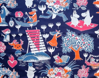 NEW Moomin fabric, Taikamuumi. Made by the Finnish company Finlayson. With Snufkin, Mymble, Little My and Moomins.