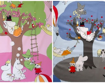 NEW Moomin fabric, made by the Finnish company Finlayson. With snufkin, Moomins, Mymble, little My, Primadonna's house etc