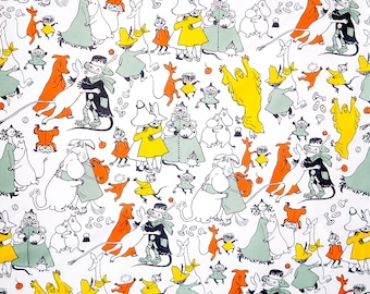 NEW Moomin fabric: TANSSIT LAAKSOSSA, heavy weight cotton. Made by the Finnish company Finlayson.