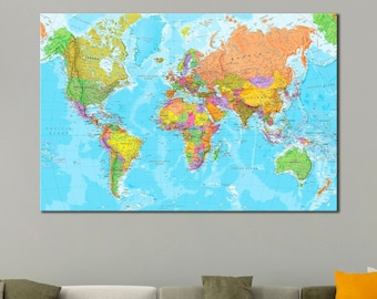 World Map Art Print Etsy