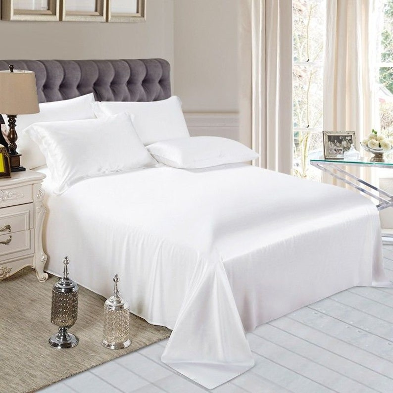 100% Silk 2-in-1 Fitted & Flat Sheet and 2 Silk Pillowcases Pearl White