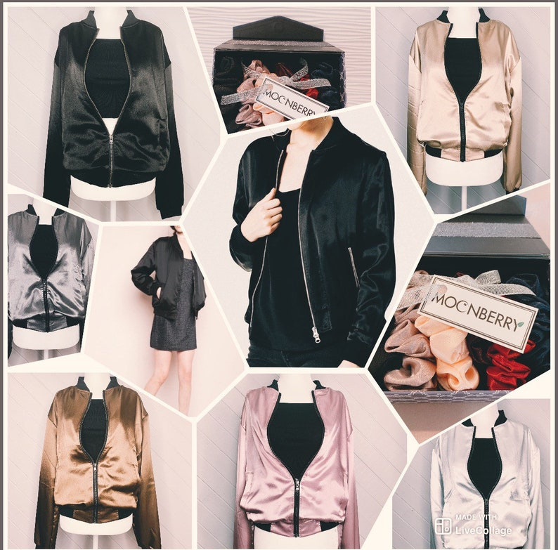 100% SILK Unisex Bomber Jacket  modern colors/Outerwear image 0