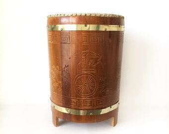 Carved Wood Drum Vintage Drum Bohemian Side Table Drum Table Animal Hide  Drum Unique Side Table Round Vintage Side Table Carved Wood Table
