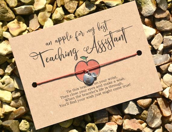 Wish Bracelet An Apple For My Best Teacher Costume Jewellery School Teacher Gift Wish Card Apple Bracelet Charm Bracelet Cord Bracelet