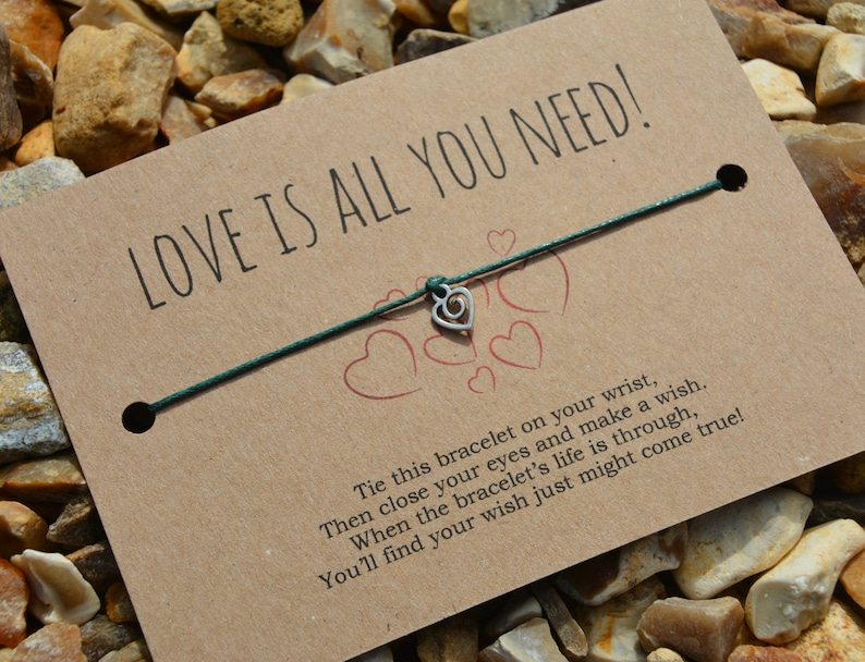 Wish Bracelet Love Is All You Need Costume Jewellery Motivational Gift Wish Card Wish String Heart Bracelet Charm Bracelet Cord Bracelet