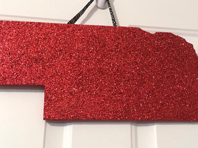 Red Glitter Nebraska State Door Hanger