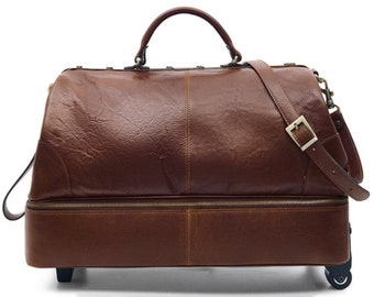 Handcrafted Italian Leather Brown Duffle Bag Wheeled Holdall with Smugglers  Compartment in the Base 8f5cda5964