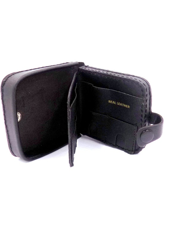 Mens Luxury Smooth Rawhide Leather Traypurse inBlack Gents Coin purse