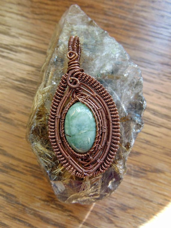 Copper Handcrafted Wirewrapped Pendant with Rainforest Jasper Cabochon Centerpiece Metaphysical Healing Stone Jewelry Amulet Talisman OOAK