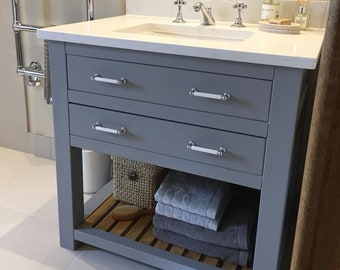 made to order bathroom vanity unit washstand with oak top handmade and bespoke base made in hardwood - Bathroom Vanity Units