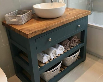 Beau Made To Order Bathroom Vanity Unit Washstand, With Oak Top. Handmade And  Bespoke. Base Made In Hardwood.