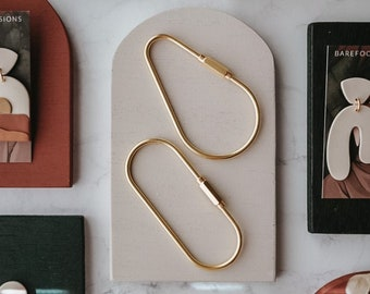 Brass Key Ring Hook, Brass Keychain, Keychain Carabiner