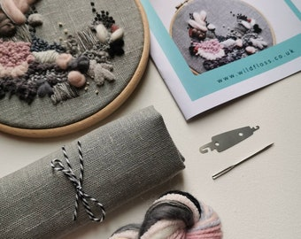 Embroidery Kit, Abstract Grey Linen Fabric. Modern hoop art. Abstract Wild Floss Embroidery. DIY craft.