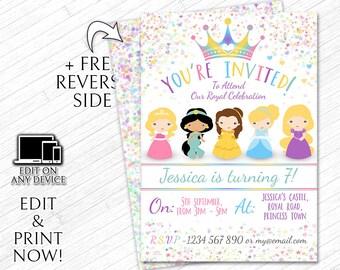 Princess invitations etsy printable birthday party invitations princesses diy instant digital invite girls personalized princess invitation filmwisefo