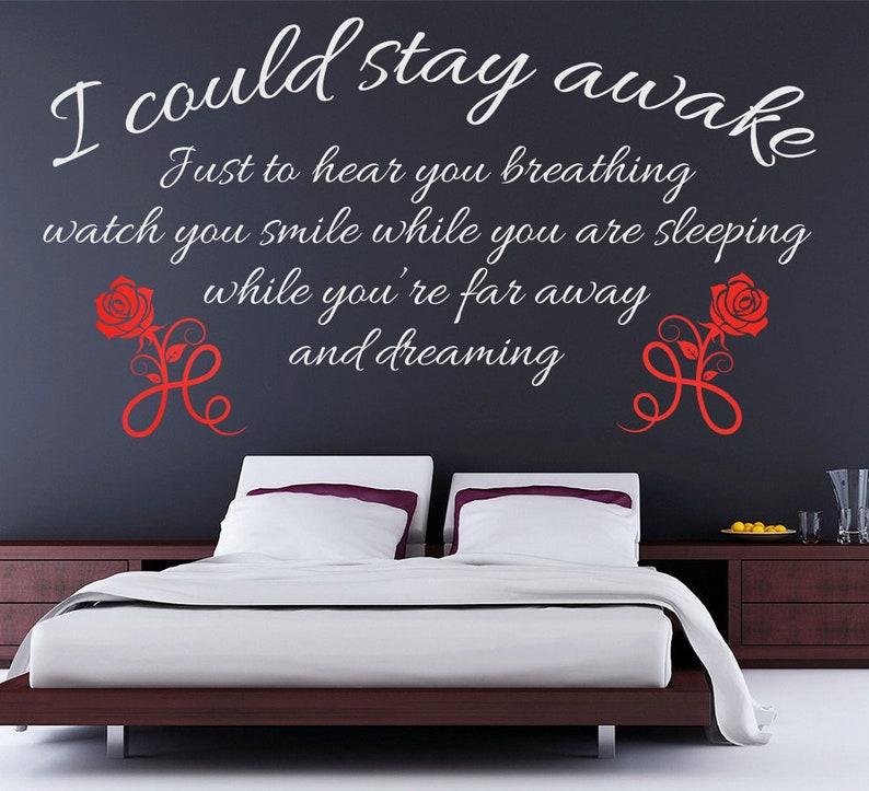 Potrei restare sveglio Wall Sticker - camera da letto Decal - Aerosmith che  non voglio Miss A Thing parete citazione testi