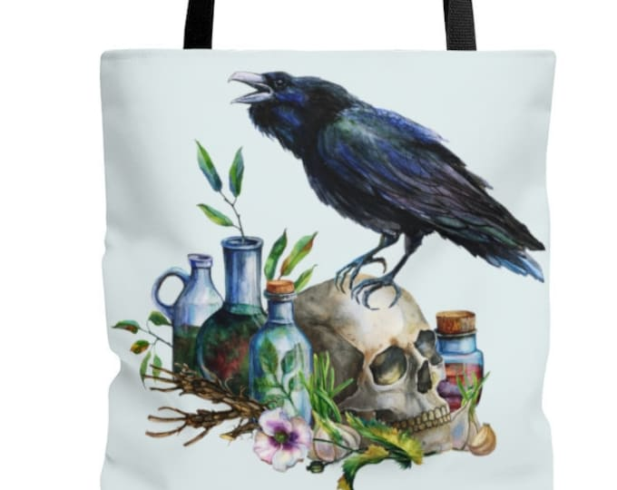Botanical Alchemy Watercolor Reuable Tote Bag Plant Witch Botany Raven Alchemist Book bag, Shopping Bag, Everyday Bag, OOAK, OOAK Bag