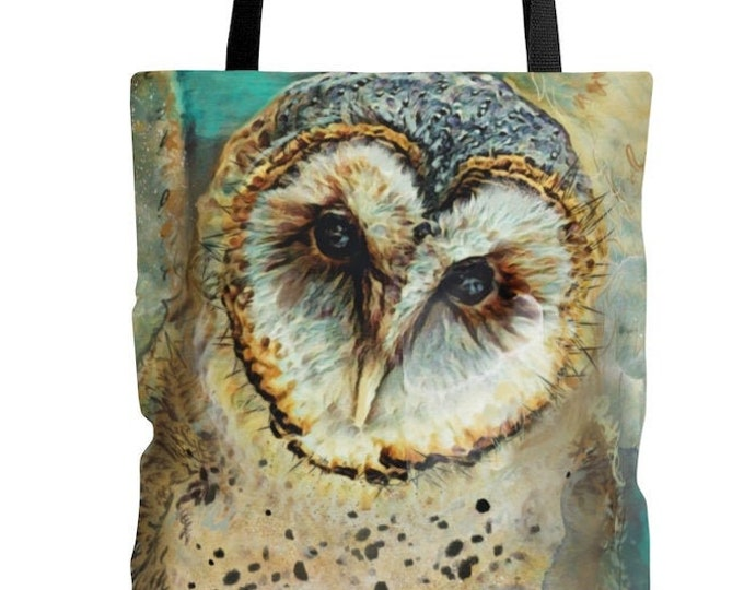 Watercolor Barn Owl Reusable Tote Bag  Illustrated Bag, Book bag, Shopping Bag, Grocery Bag, Everyday Bag, Carry All, OOAK, OOAK Bag