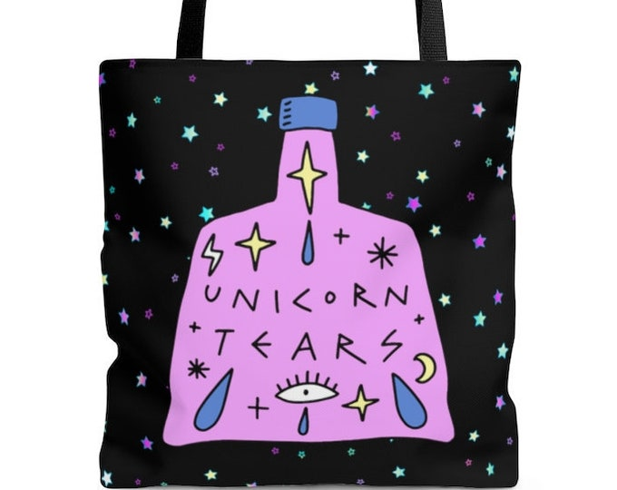 Unicorn Tears - Pastel Goth Reusable Tote Bag Creepy Cute LOVE