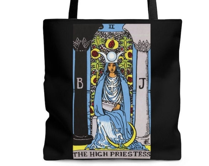 The High Priestess Resuable Tote Bag  Illustrated Bag, Book bag, Shopping Bag, Grocery Bag, Everyday Bag, Carry All, OOAK, OOAK Bag