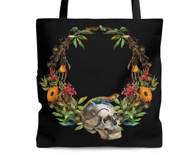 Watercolor Skull Botanical Alchemy Wreath Reusable Tote Bag  Illustrated Bag, Book bag, Shopping Bag, Grocery Bag, Everyday Bag, OOAK Bag