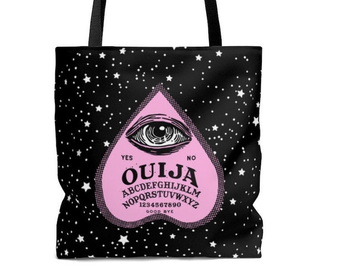 Pink Ouija Planchette Tote Bag Illustrated Bag, Book bag, Shopping Bag, Reusable Bag, Grocery Bag, Everyday Bag, Carry All, OOAK, OOAK Bag