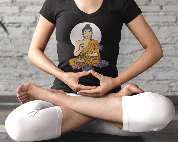 Buddha Lotus V-Neck Tee