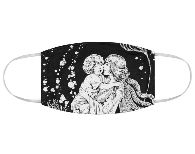 Beautiful Art Nouveau Mother and Child Fabric Face Mask Soft Face Mask, Breathable Face Mask, Beautiful Face Mask, Illustrated Face Mask