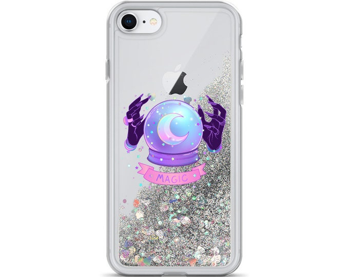 Pastel Goth Magic Liquid Glitter Phone Case ( Choice of Pink, Silver or Gold Glitter ) Witch Aesthetic, Divination, astrology
