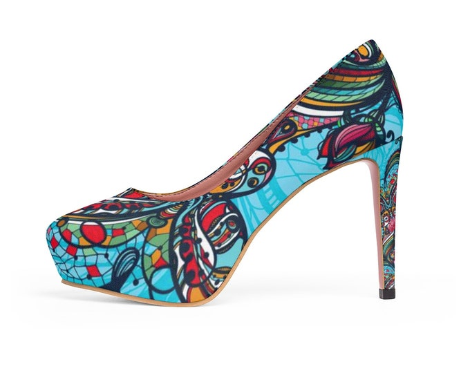 Abstract Mandala Platform Vegan Heels