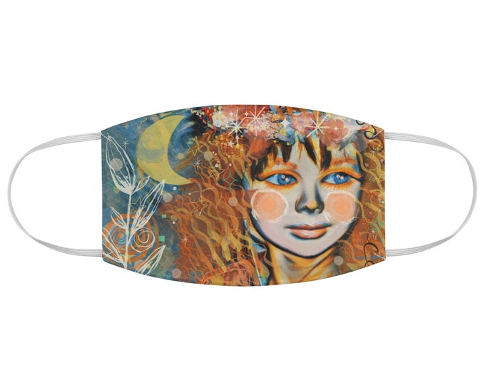 Star-seed Contemporary Art Fabric Face Mask Red Head, celestial, moonchild, cute art
