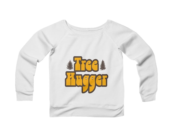 Tree Hugger-  Wide Neck Off The Shoulder Sweatshirt