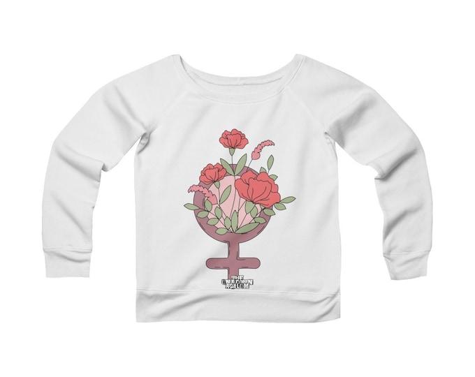 Femininity -Fleece Wide Neck Sweatshirt