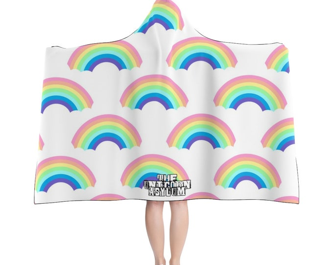 The Unicorn Asylum Rainbow Hooded Blanket