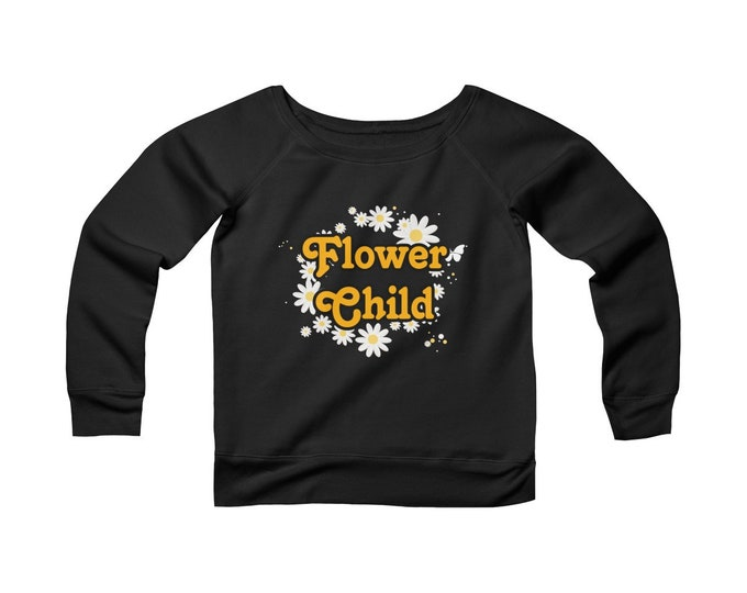 Flower Child Vintage Inspired- Wide Neck -Off The Shoulder- Sweatshirt