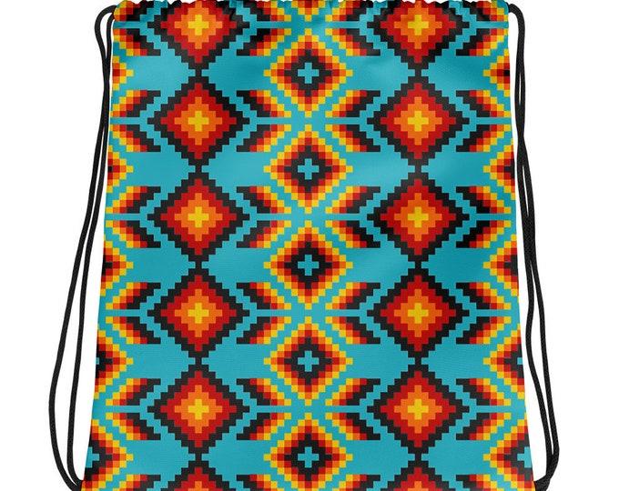 Turquoise Dusk Drawstring bag