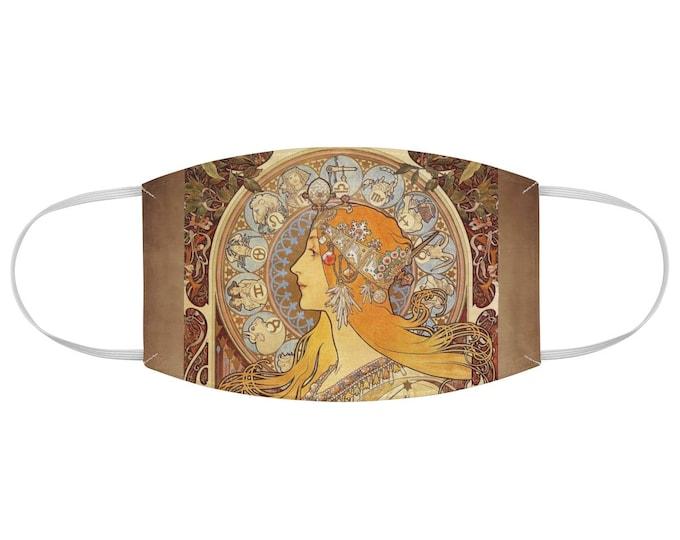 Alphonse Mucha The Zodiac Fabric Face Mask Art Nouveau