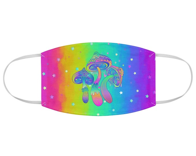 Psychedelic Mushroom Pastel Rainbow, Fabric Face Mask