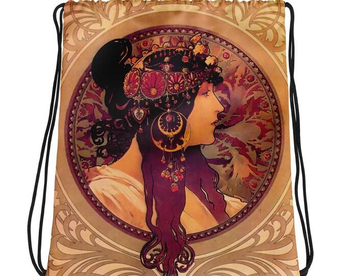 Donna By Alphonse Mucha Drawstring bag