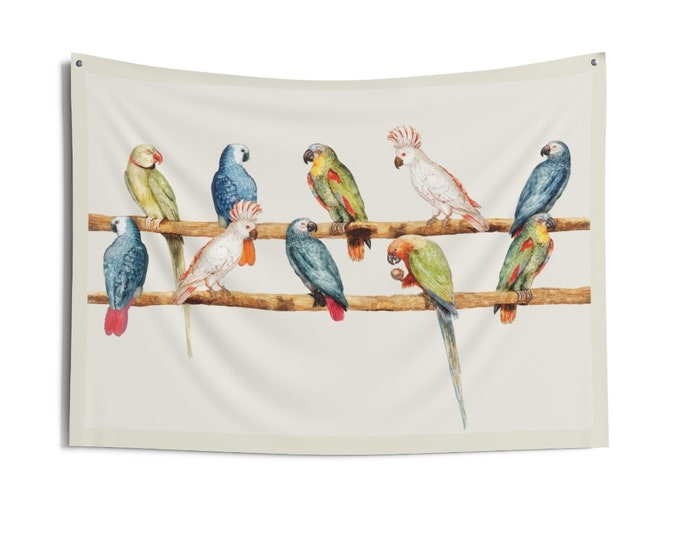 Parakeets on a wire vintage print Wall Tapestry