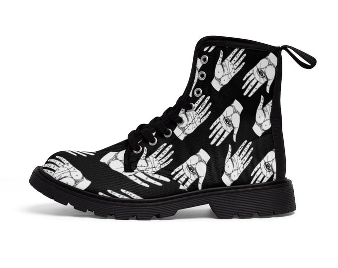 Hands of Fate- Vegan Canvas Combat Boots