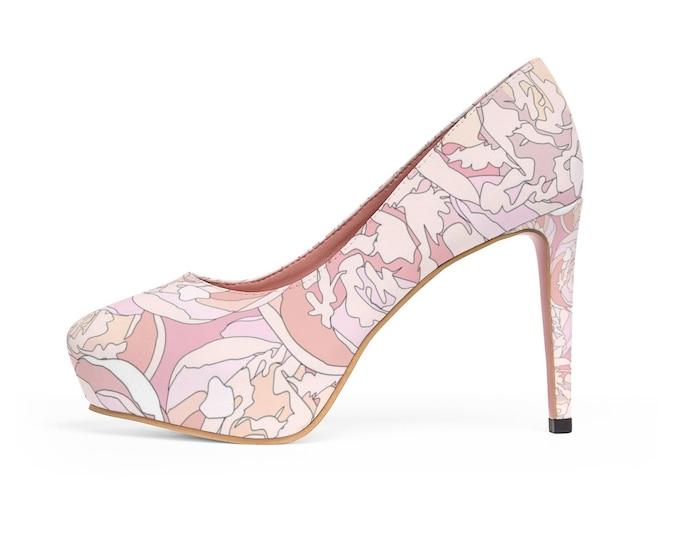 Pink Peonies Platform Vegan Heels