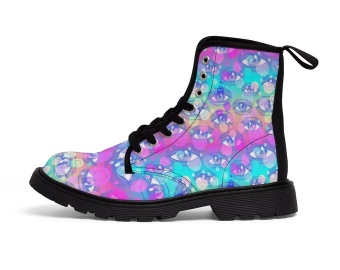Pastel Rainbow Third Eye Vegan Combat Boots