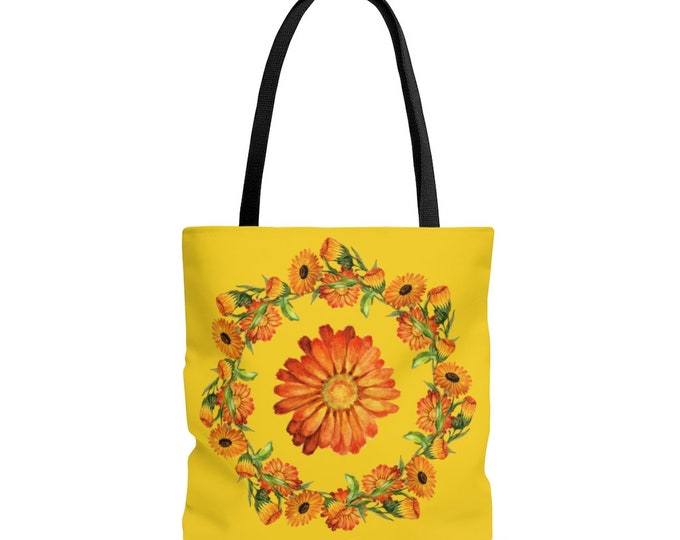 Calendula Flowers Reusable Tote Bag  Illustrated Bag, Book bag, Shopping Bag, Reusable Bag, Grocery Bag, Everyday Bag, Carry All