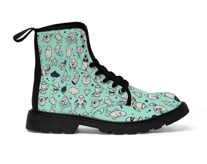 Adorable Graffiti Characters Debauchery Vegan Combat Boots