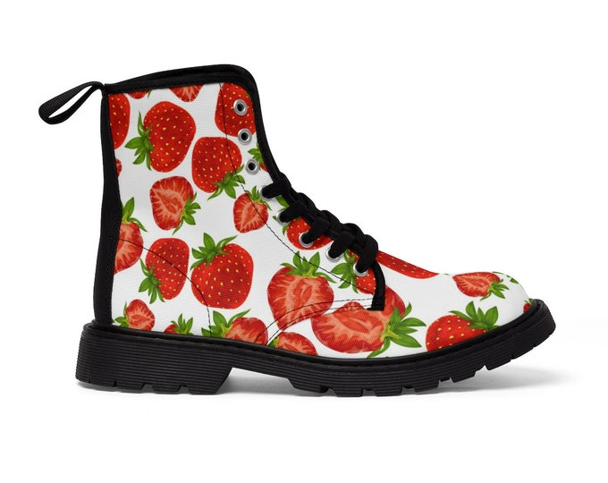 Strawberry Vegan Combat Boots