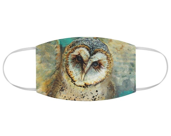 Watercolor Barn Owl Fabric Face Mask