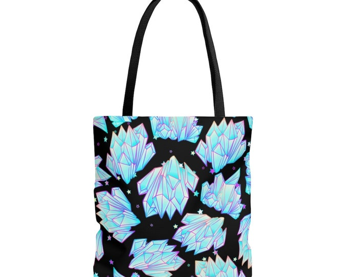 Quartz Crystal Points Magic Reusable Tote Bag Pastel Goth