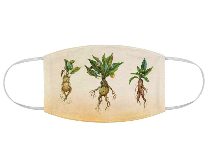 3 Cute Mandrakes Fabric Face Mask , Botany, Botanical, Plant Witch