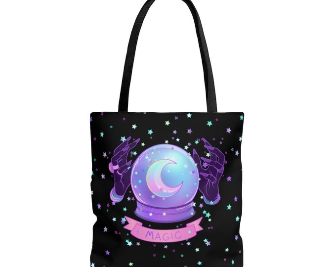 Pastel Goth Magic Crystal Ball Reusable Tote Bag  Witchy Astrology Divination Witch Hands
